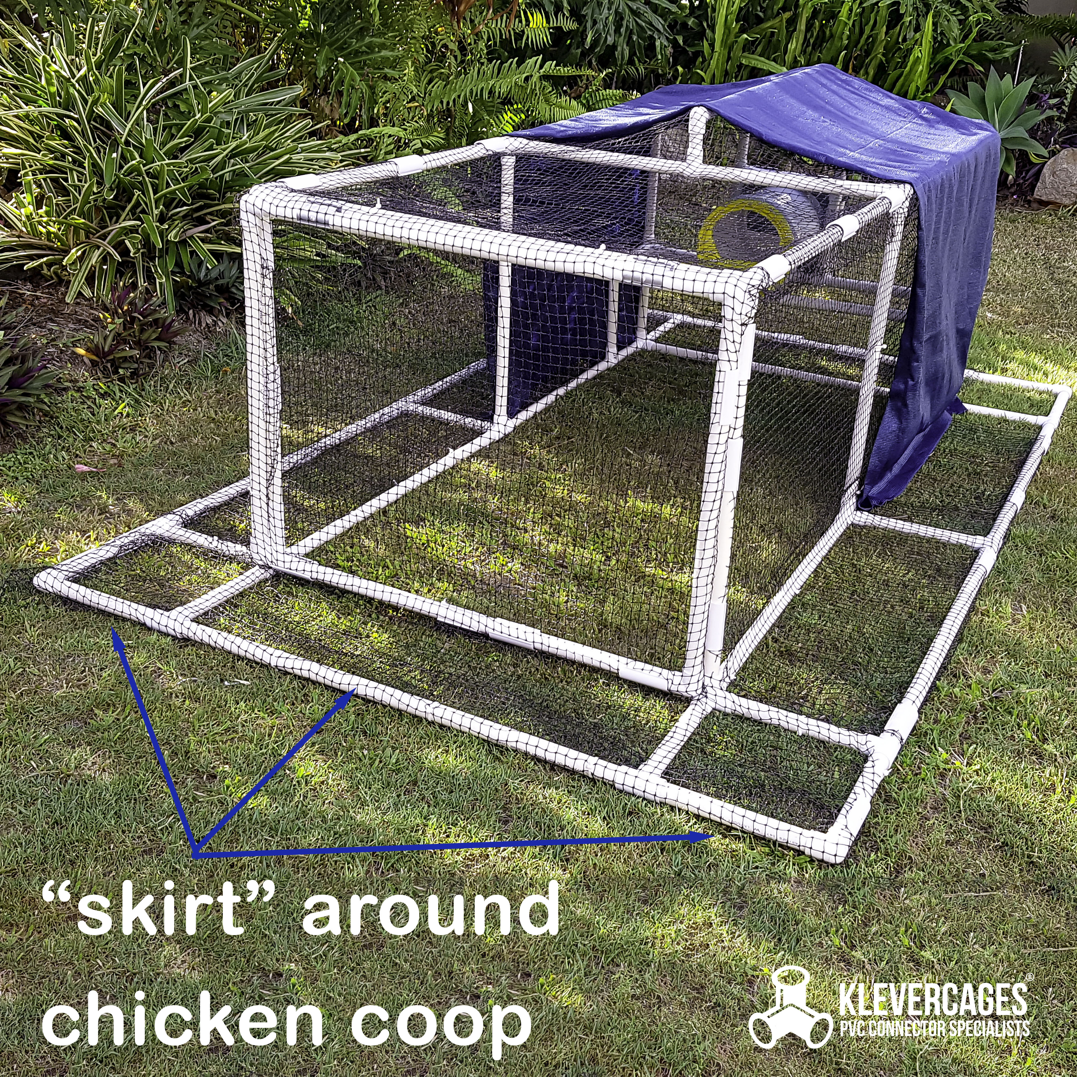 Premium Chicken coop with a skirt to keep your chickens safe. Shade over the top of the PVC pipe and connector tractor