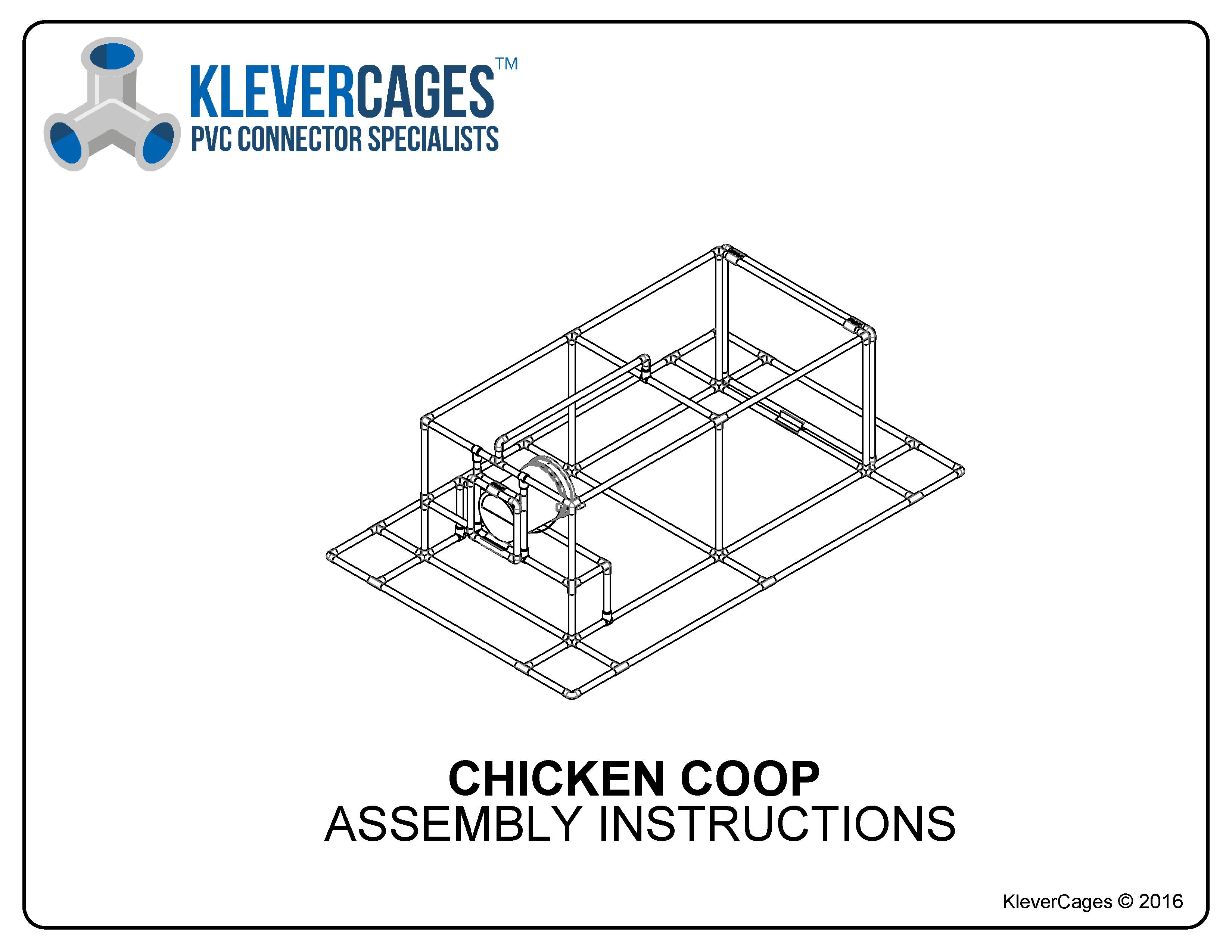 Free PVC pipe and connector plan of a premium chicken tractor from Klever Cages