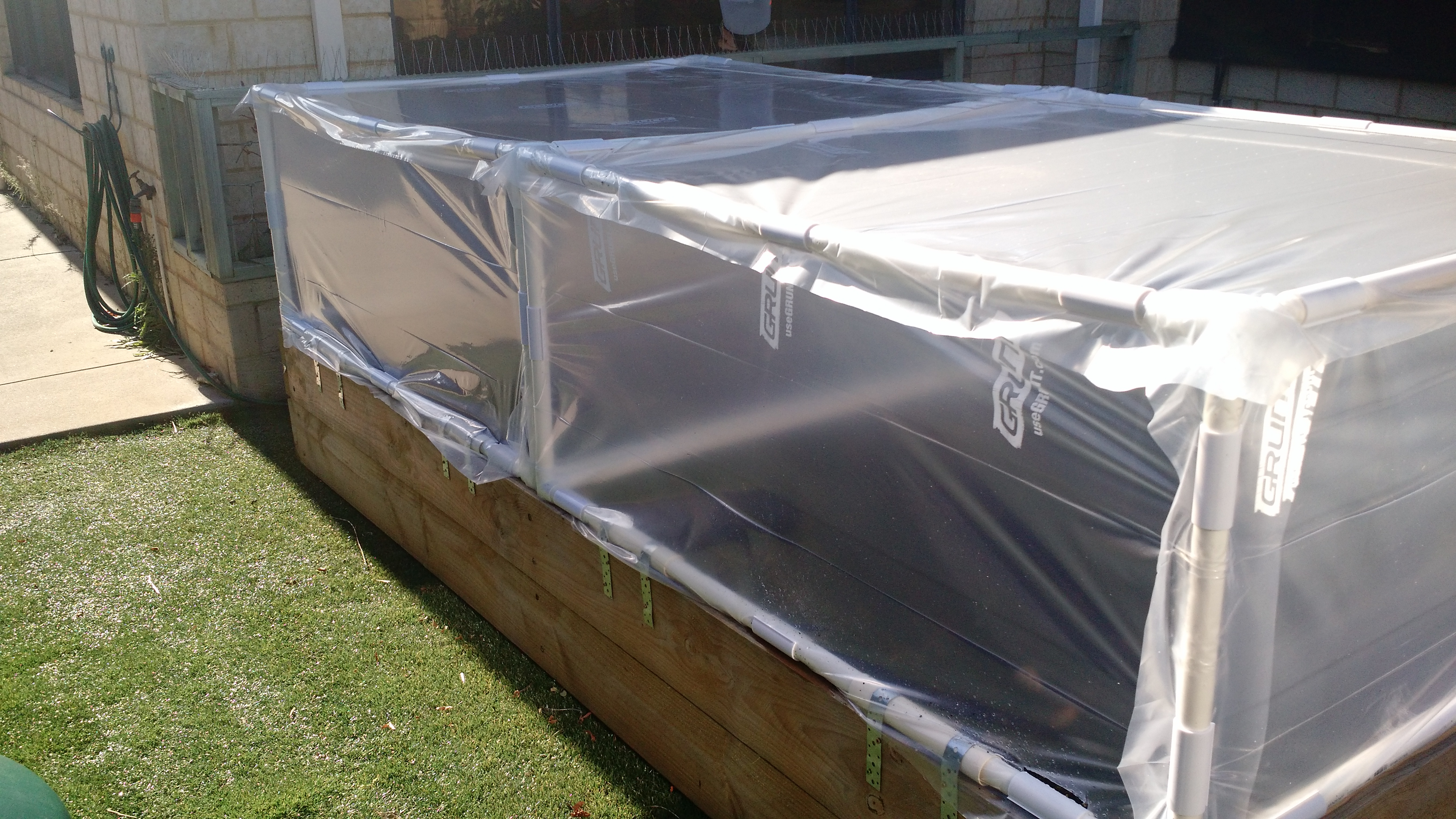 Coldframe built with PVC connectors and pipe from Klever Cages