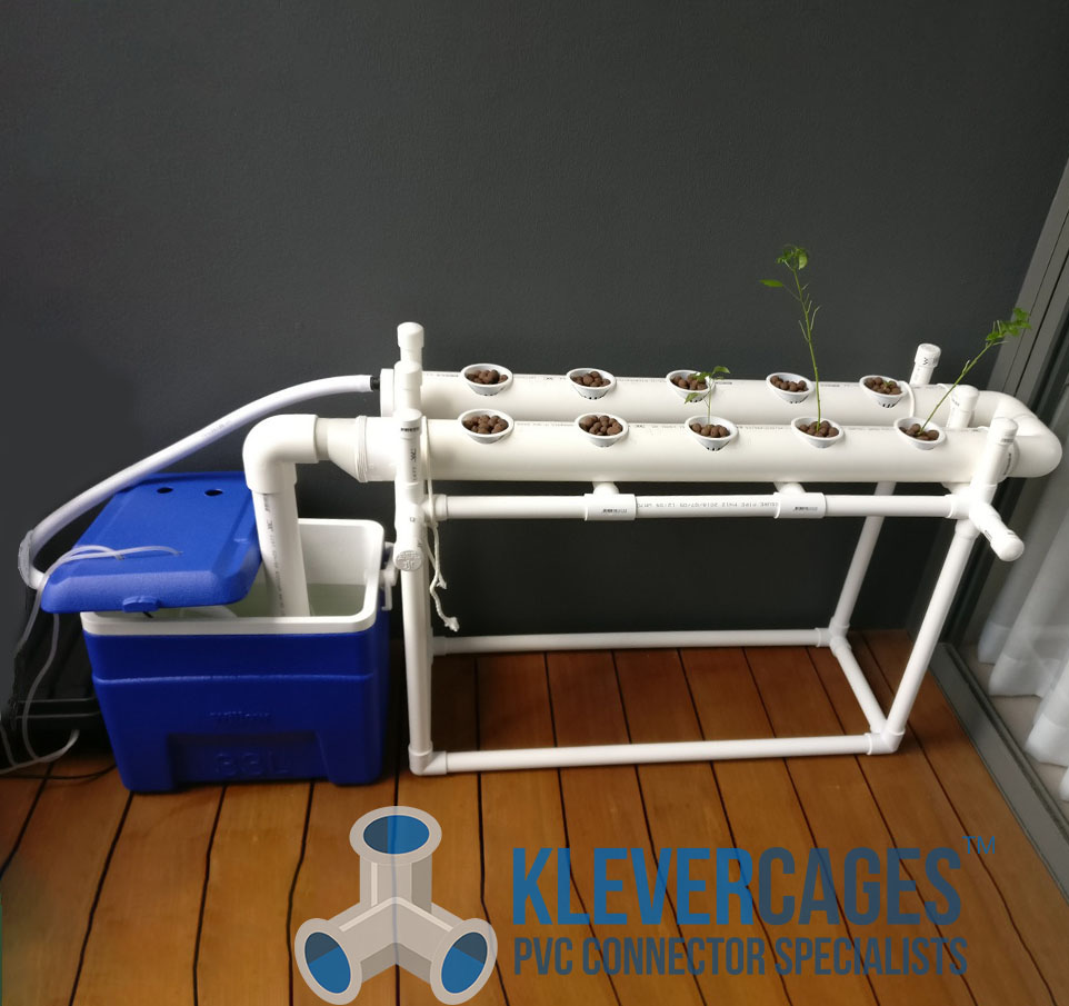 DIY hydroponic setup system with an esky as a reservoir , frame built with PVC connectors and pipe from Klever Cages