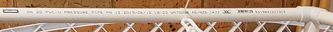 PVC pipe writing example of Holman pipe purchased from Bunnings to fit Klever Cages connectors.